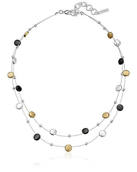 "Nine West - Multicolor Classics Tri-tone Double Row Adjustable Illusion Necklace, 16"" + 2"" Extender - Lyst"