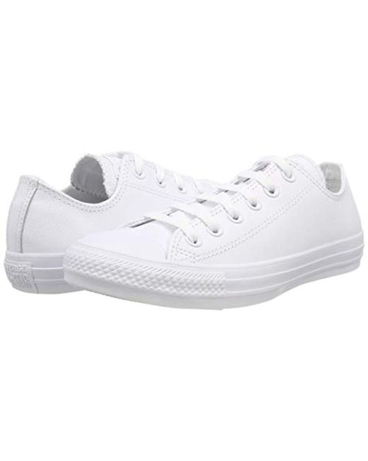 b5a39ed412e22d ... Converse - Unisex Chuck Taylor All Star Ox Low Top Classic White  Leather Sneakers - Lyst ...