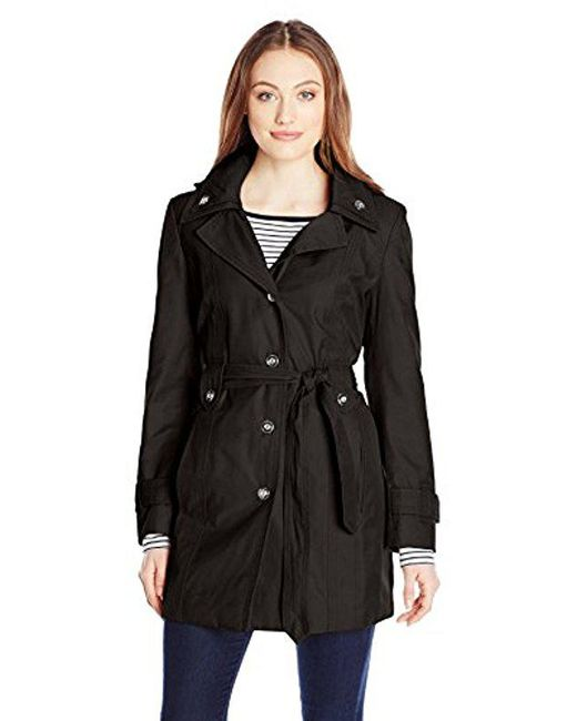 London Fog - Black Single Breasted Double Collar Trench Coat - Lyst