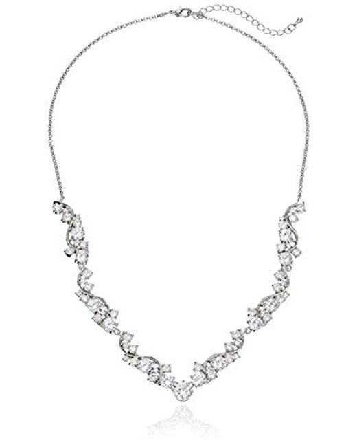 "Nina - Metallic Danesa Romantic Sweeping Cubic Zirconia Collar Necklace, 18.75"" + 2.25"" Extender - Lyst"