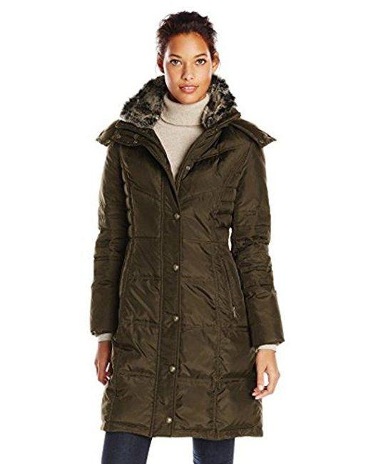 London Fog - Green Chevron Down Coat With Faux-fur Trim - Lyst