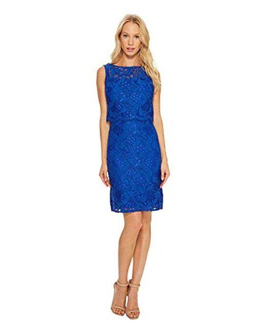 Ellen Tracy - Blue Lace Popover Dress - Lyst