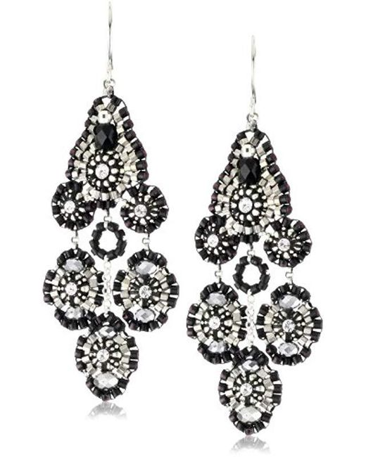 Miguel Ases - Black Jet And Sterling Silver Small Station Dangle Earrings - Lyst