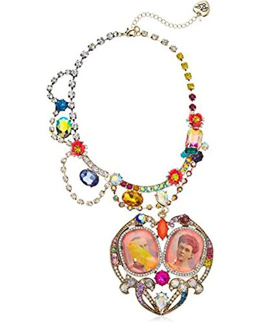 Betsey Johnson - Multicolor S Granny Chic Antique Picture Heart Statement Pendant Necklace, Multi, One Size - Lyst
