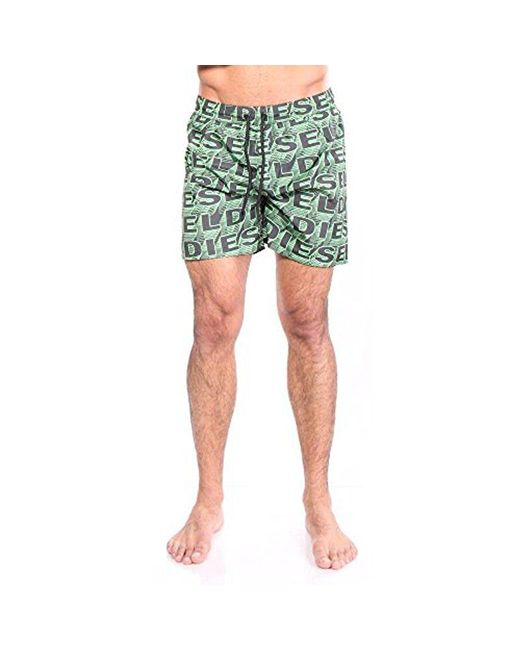 9716f939b7 Lyst - DIESEL Wave Printed 16 Inch Swim Trunk in Green for Men ...