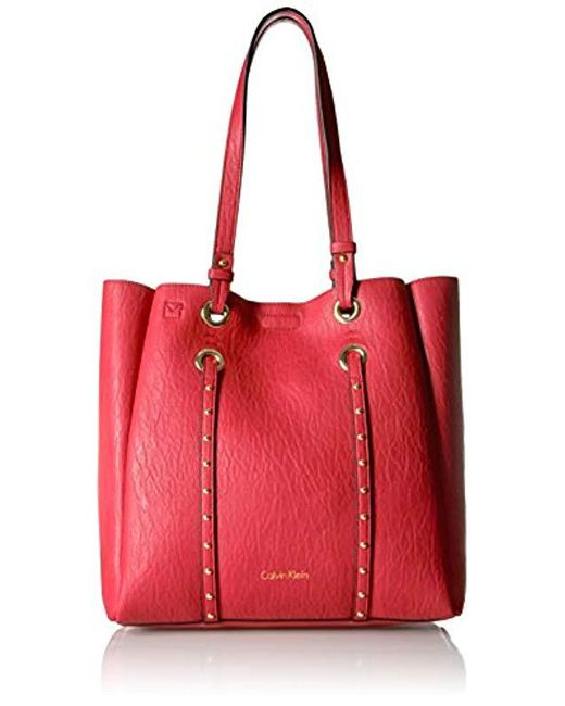Calvin Klein - Red Cora Bubble Lamb Novelty North/south Tote - Lyst