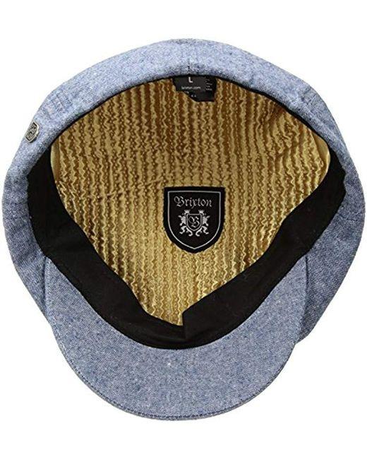 9434f04431033 ... sweden brixton blue brood newsboy snap hat for men lyst 4a260 b159c