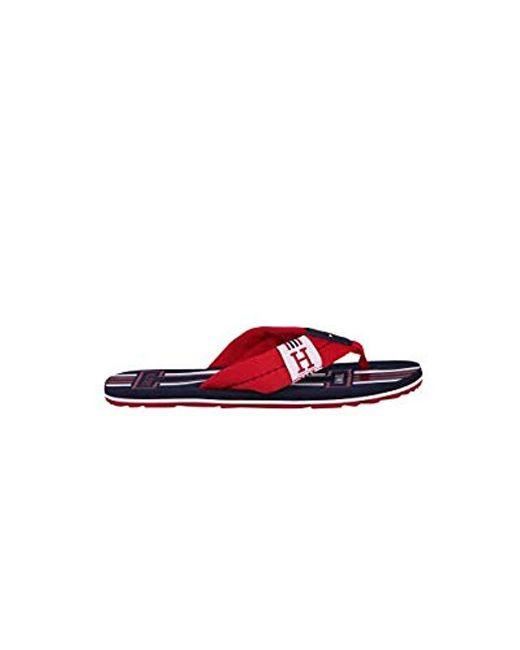 73e0b7a2402 Tommy Hilfiger - Red Badge Textile Beach Sandal Flip Flops for Men - Lyst  ...