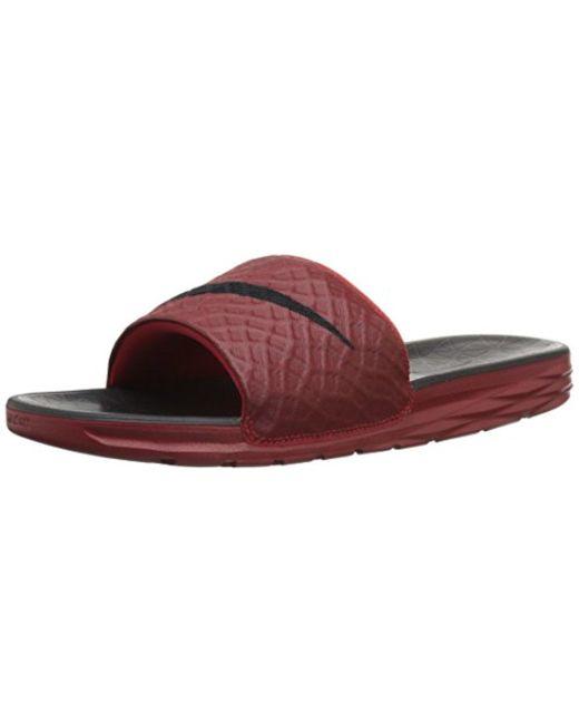 cheaper 4325f ab865 Nike - Red Benassi Solarsoft Slide Sandal for Men - Lyst ...