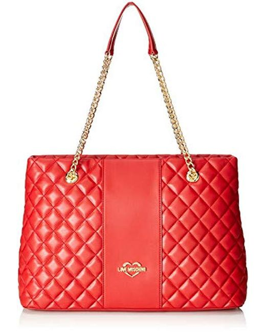 Love Moschino - Red Borsa Quilted Nappa Pu Satchel - Lyst ... 2d79675ab77