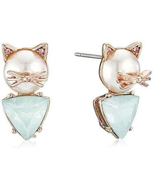 Betsey Johnson - Multicolor S Pearl Critters Cat Stud Earrings - Lyst
