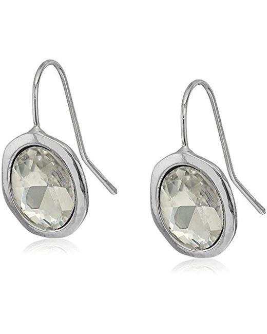 T Tahari - Metallic Faceted Stone Drop Earrings - Lyst