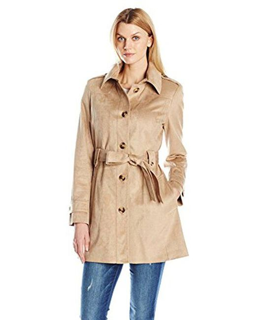 Via Spiga - Natural Faux Suede Single Breasted Trench Coat - Lyst