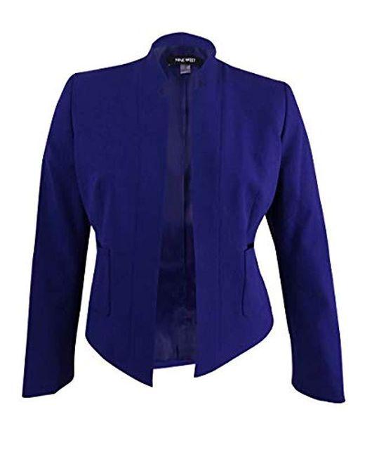 Nine West - Purple Plus Size Solid Bi Stretch Kiss Front Jacket - Lyst