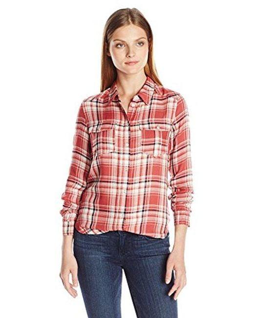 PAIGE - Red Mya Plaid Shirt-cedar/cream/evening Blue - Lyst