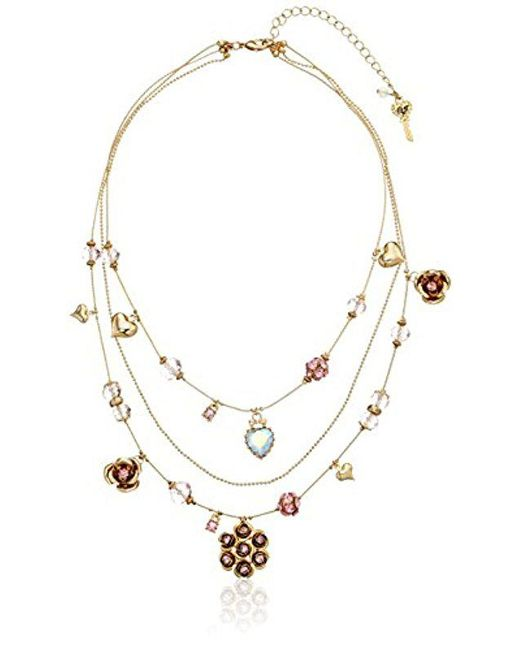 Betsey Johnson - Pink Cherry Bead Illusion Necklace - Lyst