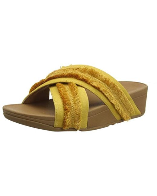 762ef81058af Fitflop - Yellow Freya Lulu Slide-fringe Canvas Open Toe Sandals - Lyst ...