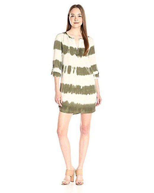 Splendid - Green Treatment Shirt Dress - Lyst
