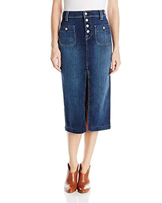 7 For All Mankind - Blue Exposed Button Long Skirt - Lyst
