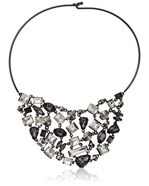 Kenneth Cole - Stone Cluster Metallic Mixed Metallic Faceted Stone Bib Wire Collar Necklace - Lyst