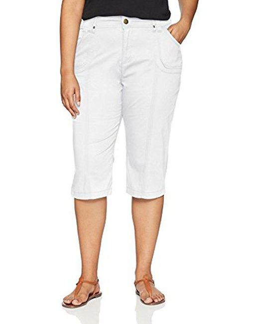 Lee Jeans - White Plus Size Relaxed Fit Lyric Knit Waist Cargo Capri Pant - Lyst