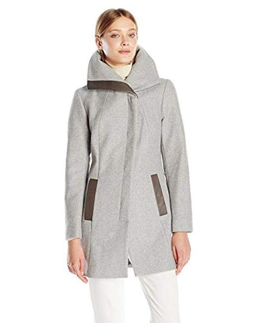 SOIA & KYO - Gray Jana Diagonal Wool Coat - Lyst