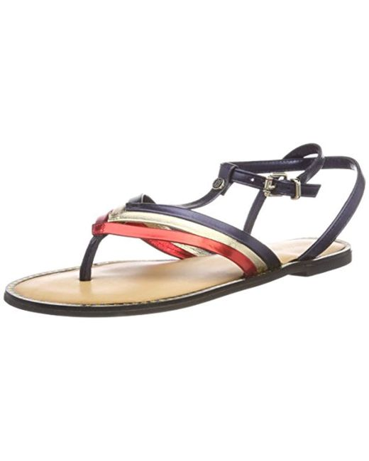 bcd1f5b06852 Tommy Hilfiger - Multicolor Corporate Flat T-bar Sandal - Lyst ...