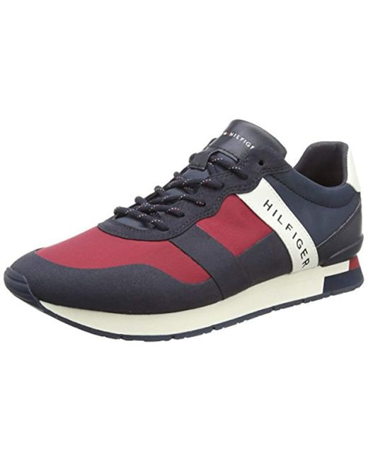 Tommy Hilfiger - Blue Printed Material Mix Runner Low-top Sneakers for Men - Lyst