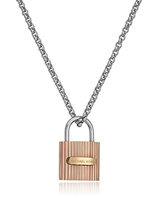 Michael Kors - Multicolor Tri Tone Ridged Padlock Lobster Clasp Pendant Necklace - Lyst