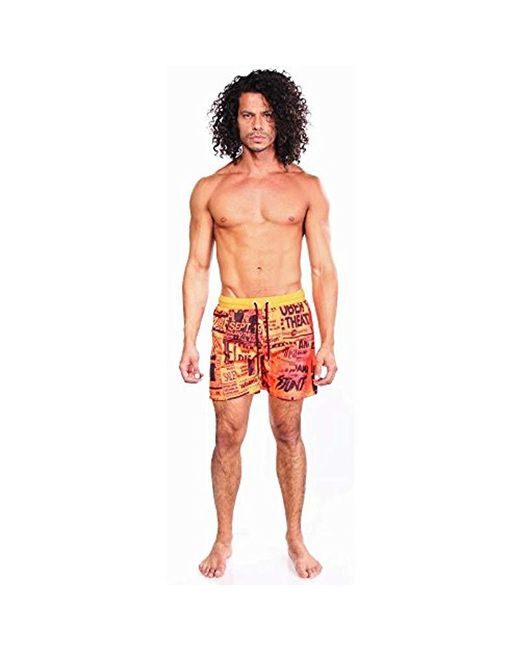 dedef6d6c4 ... DIESEL - Orange Wave Poster Printed 16 Inch Swim Trunk for Men - Lyst  ...