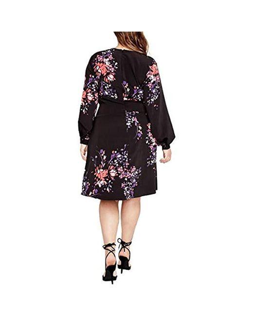 db7ebdaf713 Lyst - RACHEL Rachel Roy Plus Size Front Wrap Dress in Black - Save 11%