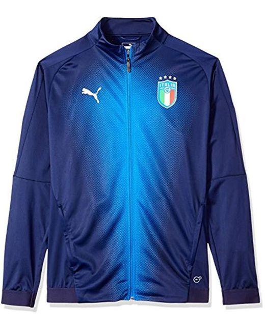 PUMA - Blue Figc Italia Stadium Jacket for Men - Lyst