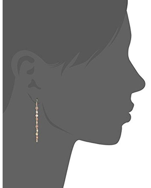 Guess - Metallic S Spring Whites Drop Earrings With Stones, Rose Gold, One Size - Lyst