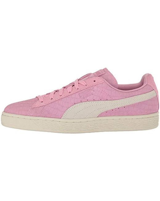 new styles 51fcc d2662 Women's Pink Suede Classic Croc Emboss Wn's Fashion Sneaker