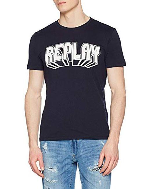 Replay - Blue T-shirt for Men - Lyst