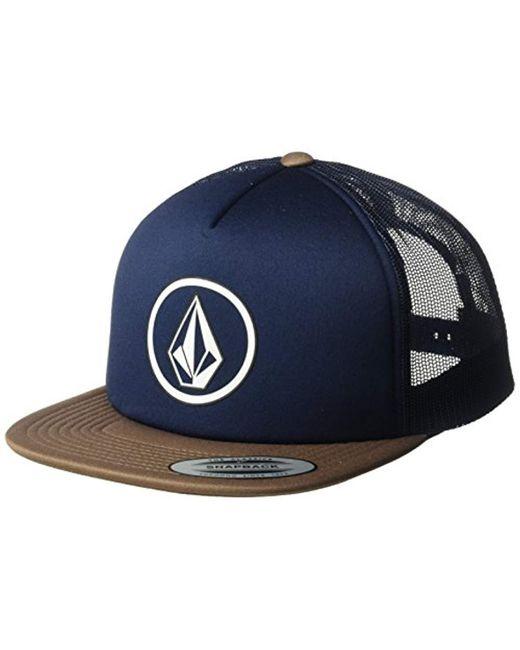 25e0b7ec404c2 Volcom - Blue Full Frontal Cheese 5 Panel Trucker Hat for Men - Lyst ...