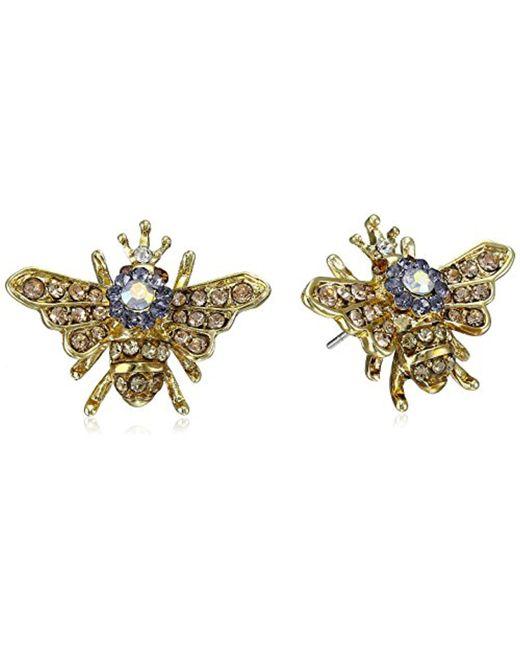 """Betsey Johnson - Multicolor """"queen Bee"""" Stud Earrings - Lyst"""