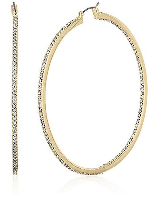 Kenneth Cole - Metallic Shiny Gold Items Gold And Crystal Large Hoop Earrings - Lyst