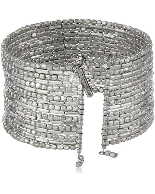 """Kenneth Cole - Metallic Seed Bead Boost Silver Seed Bead Coil Bracelet, 7.5"""" - Lyst"""