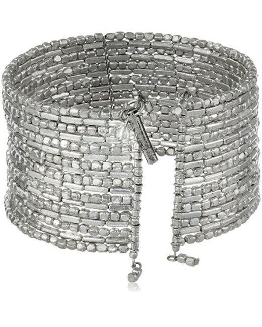 """Kenneth Cole - Metallic """"seed Bead Boost"""" Silver Seed Bead Coil Bracelet, 7.5"""" - Lyst"""