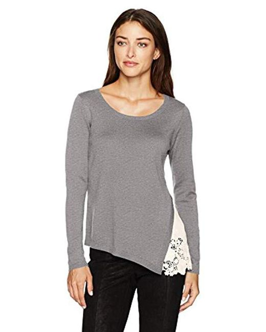 Kensie - Gray Soft Sweater Eyelet Lace Side - Lyst