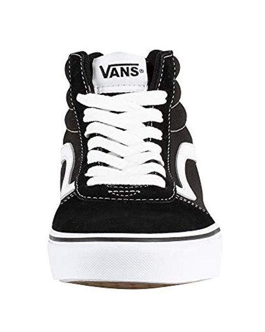 ... Vans - Ward Hi Suede canvas Top Trainers Black for Men - Lyst ... 7482b59cf