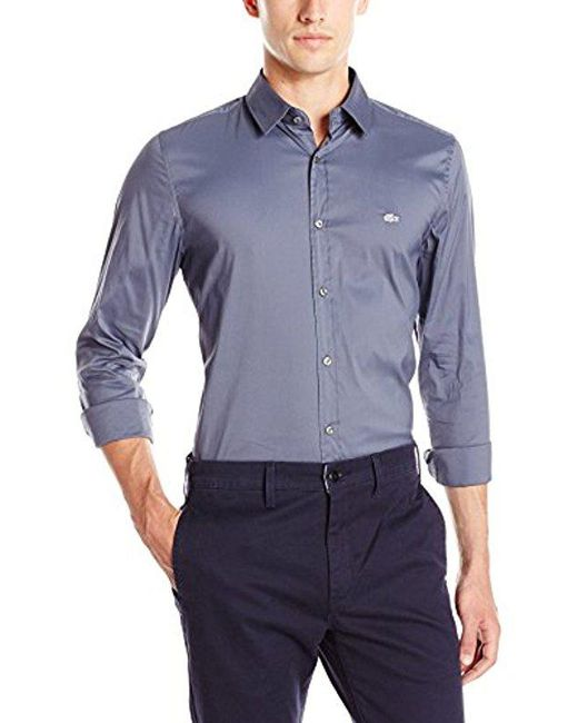 Lacoste - Blue City Long Sleeve Stretch Solid Poplin Woven Shirt for Men - Lyst