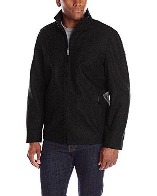 Perry Ellis - Black 28-inch Wool-blend Zip-front Open-bottom Jacket for Men - Lyst