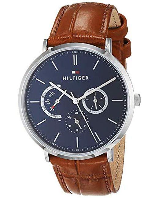 Tommy Hilfiger - Blue Reloj Multiesfera para Hombre de Cuarzo con Correa en  Cuero 1710375 for ... c6c82ca5484b