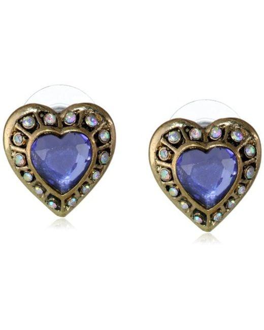 "Betsey Johnson - Purple ""imperial Princess"" Crystal Heart Stud Earrings - Lyst"