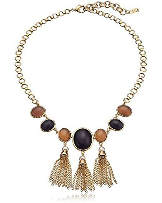 """Cole Haan - Metallic Multi-stone Frontal Fringe Drama Necklace, 16"""" + 2.75"""" Extender - Lyst"""
