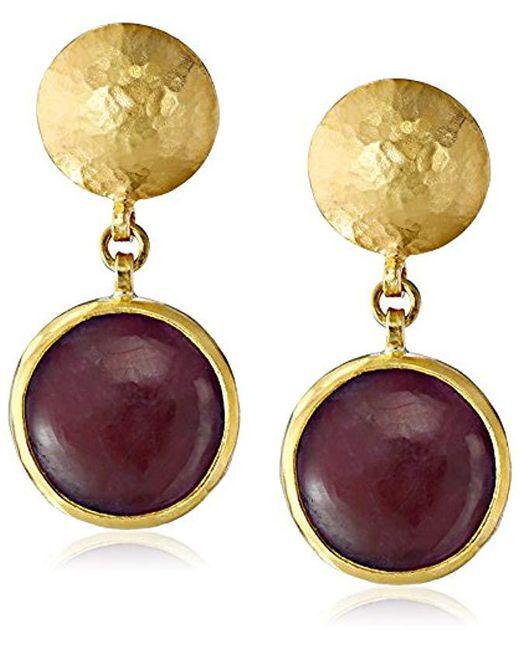 "Gurhan - Metallic ""lentil"" Gold Round Cabochon Ruby Drop Earrings - Lyst"