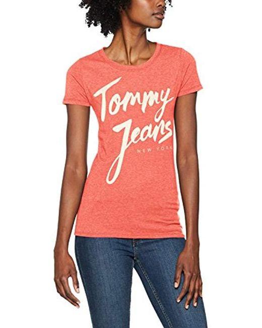 fa63f4eb Tommy Hilfiger - Pink Script Logo T-shirt - Lyst ...