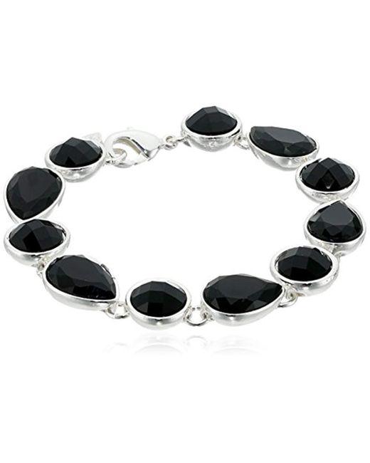 """Nine West - Metallic Color Me Bright Silver-tone/jet Flex Tennis Bracelet, 7.25"""" - Lyst"""